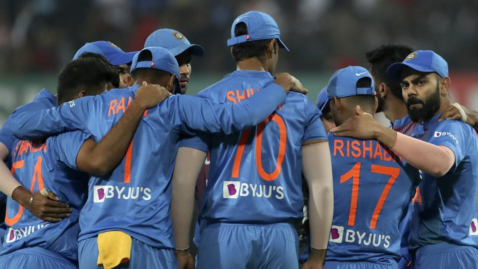 File image: India's captain Virat Kohli, right, and teammates stand in a huddle.