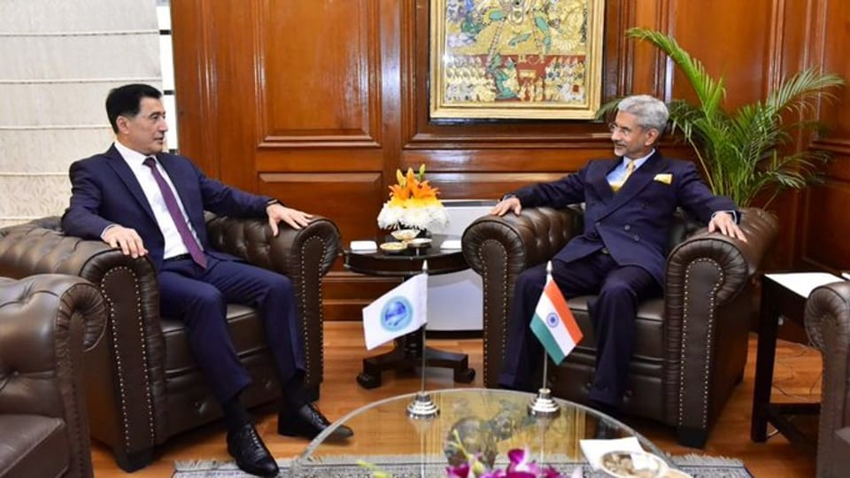 External Affairs Minister SJaishankar with Secretary General of the Shanghai Cooperation Organisation Vladimir Norov who will also attend the Raisinha Dialogue.