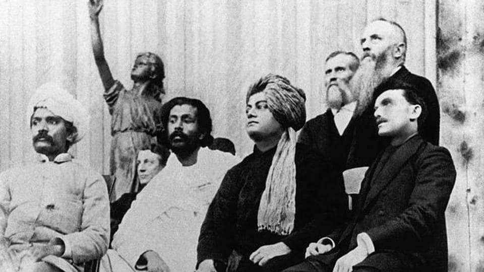 Swami Vivekananda, wearing a turban, at the Parliament of the World's Religions in 1893. (Wikipedia )