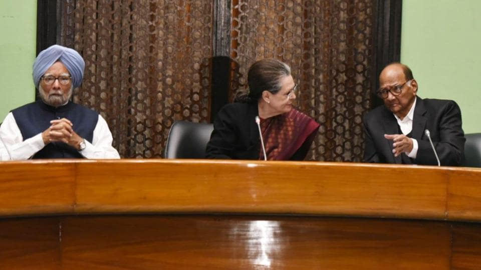 Congress President Sonia Gandhi along with Manmohan Singh, Sharad Pawar, during the Opposition Party Meeting at the Parliament Annexe in New Delhi on Monday.