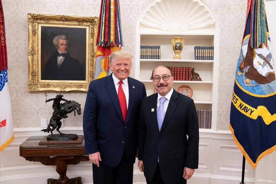 Indian Ambassador to US, Harsh Vardhan Shringla meets President Trump.