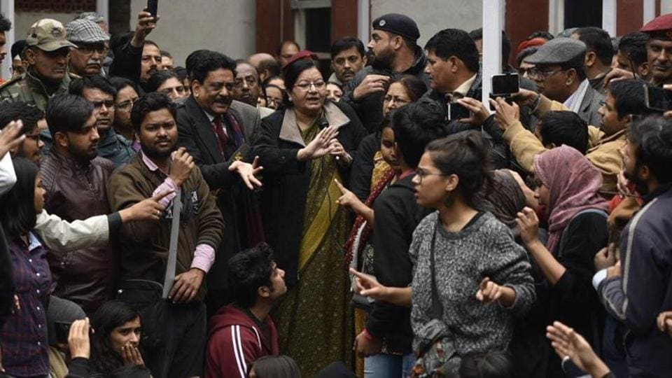 Jamia Vice Chancellor Najma Akhtar confronted by angry students on Monday who were demanding case against Delhi Police over last month's crackdown.