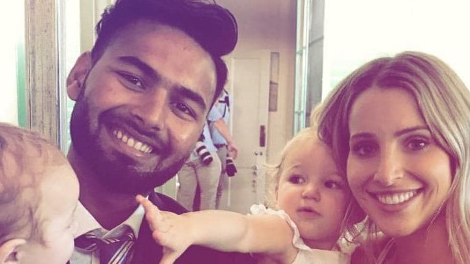 File image: Rishabh Pant (L) poses with Bonnie Paine, Tim Paine's wife.