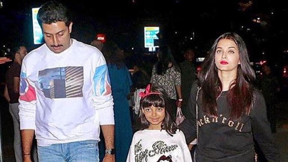 Aishwarya Rai with husband Abhishek Bachchan and daughter Aaradhya.