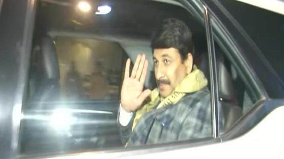 BJP's Delhi chief Manoj Tiwari leaving Amit Shah's residence after attending BJP core committee meeting on upcoming Delhi Assembly elections.