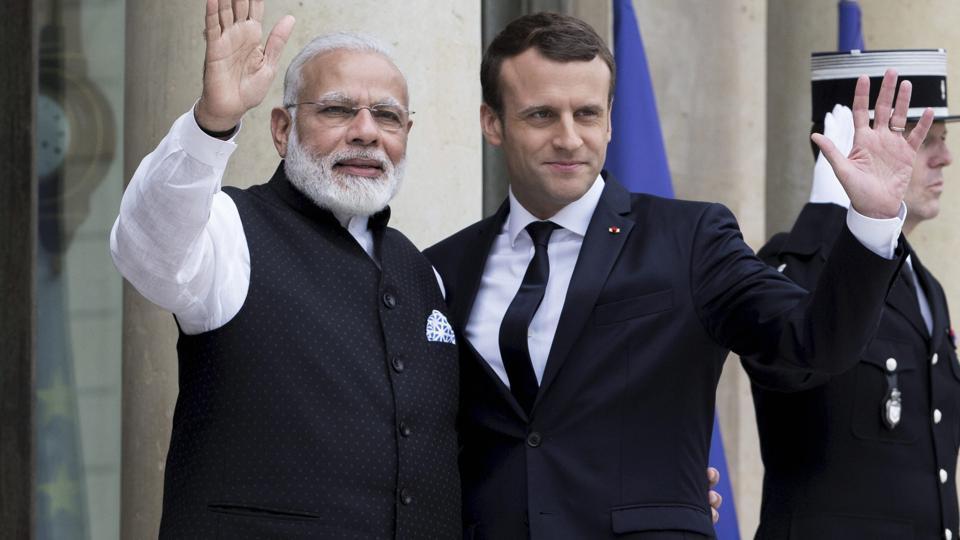 French President Emmanuel Macron with PM Narendra Modi