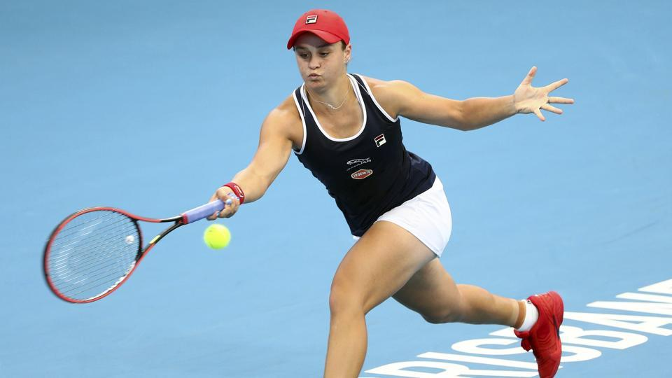 Ashleigh Barty of Australia plays a shot during her match.