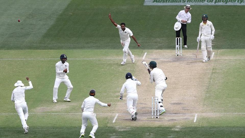Ravi Ashwin of India celebrates after taking the wicket of Josh Hazlewood of Australia to claim victory during day five of the First Test match in the series between Australia and India at Adelaide Oval on December 10, 2018 in Adelaide, Australia