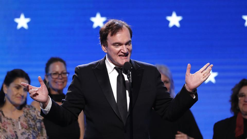 Quentin Tarantino accepts the Best Picture award for Once Upon a Time in Hollywood.