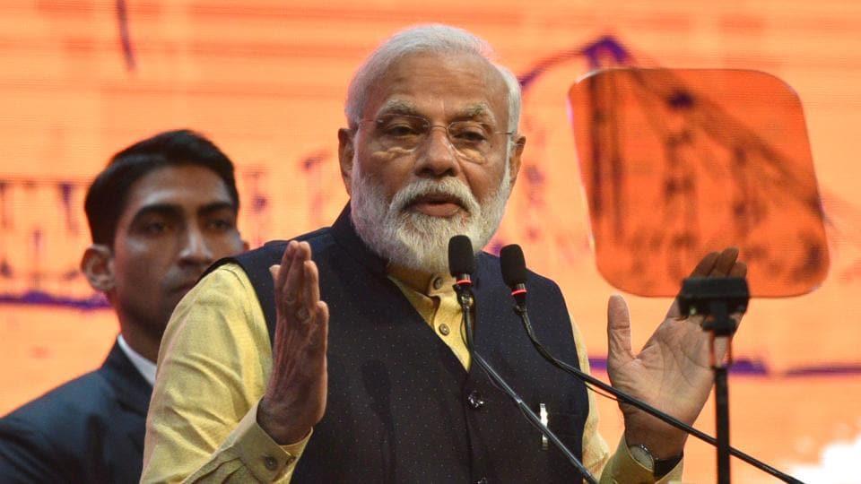 Prime Minister Narendra Modi addressing on the occasion of 150th-anniversary celebration of Kolkata Port Trust, in Kolkata on Sunday.