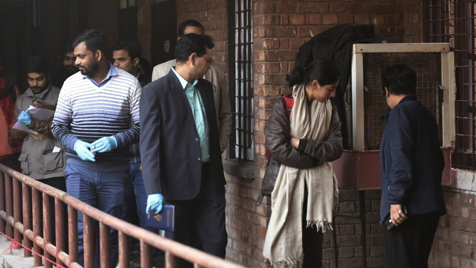 A forensics team is seen inside the Sabarmati Hostel, at JNU campus, in New Delhi, on January 7.