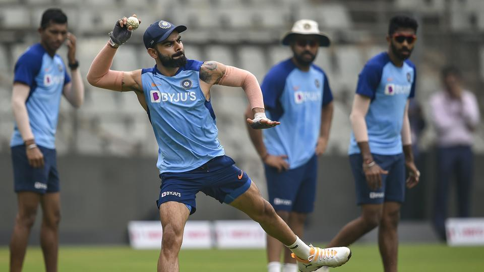 Indian captain Virat Kohli during a training session.