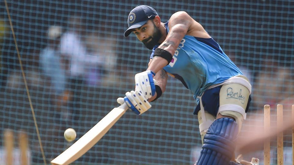 Indian captain Virat Kohli bats during a training session.