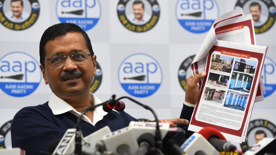Aam Aadmi Party National convener and Delhi Chief Minister Arvind Kejriwal during a comparative presentation between BJP's MCD Model and AAP Delhi Government Model at AAP office in New Delhi.