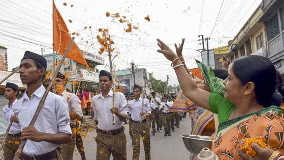 RSS workers participate in path-sanchalan (route march) in West Bengal in June 2019.