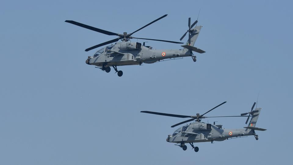Newly-inducted IAF helicopters 'Apache' during the 87th Indian Air Force Day celebrations at Hindon Airbase in Ghaziabad, on October 8, 2019.