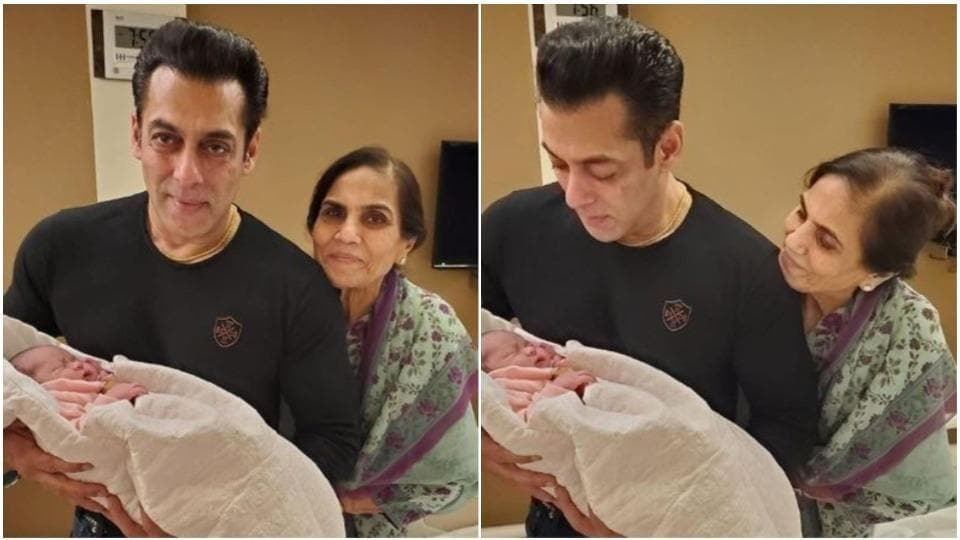 Salman Khan and his mother Salma Khan pose with his niece Ayat.