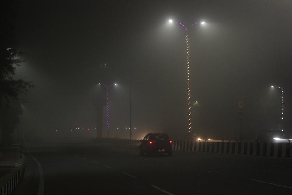 Dense fog in Lucknow on Tuesday evening.
