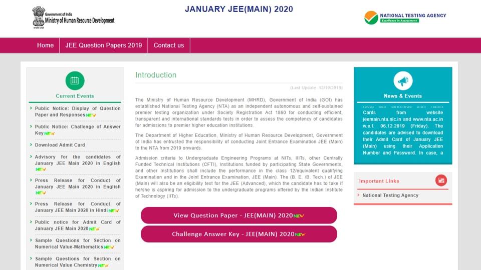JEEMain 2020 answer key out