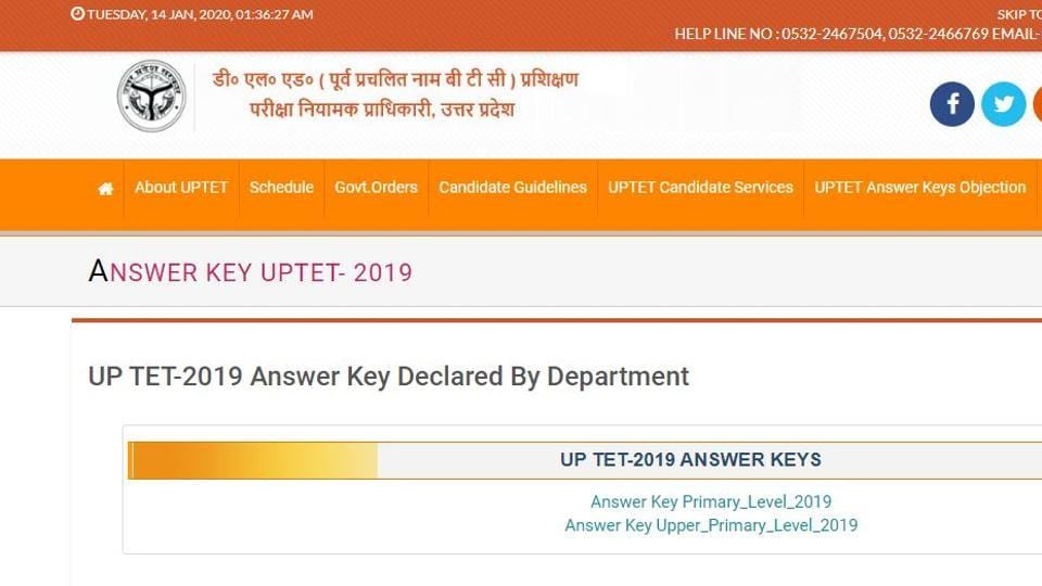 UPTET 2019 answer key was released on Tuesday by the Uttar Pradesh Basic Education Board.