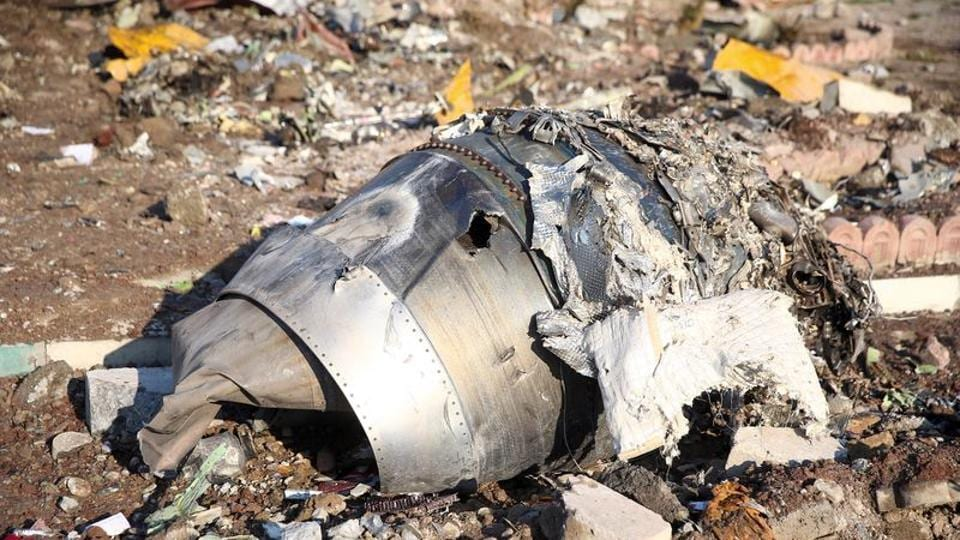 Debris of plane belonging to Ukraine International Airlines that crashed on the outskirts of Tehran on January 8.