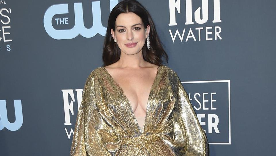 Anne Hathaway arrives at the 25th annual Critics' Choice Awards on Sunday, Jan. 12, 2020, at the Barker Hangar in Santa Monica, Calif. (Photo by Jordan Strauss/Invision/AP)