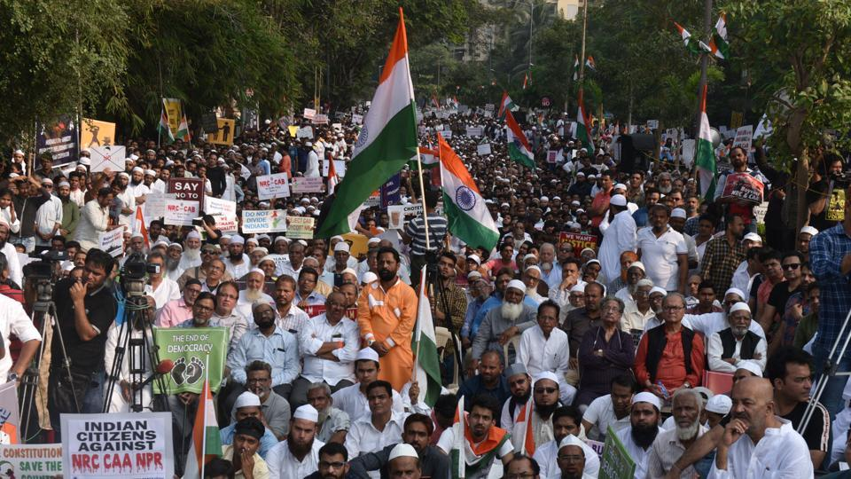 Peaceful protest against CAA,NCR and NPR at Millat Nagar,Andheri in Mumbai on January 12, 2020.