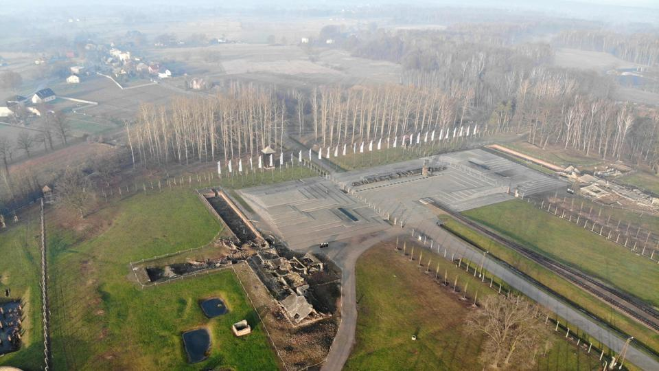 An aerial view of the remains of gas chambers and crematoriums of Auschwitz I, which was part of former German Nazi death camp Auschwitz-Birkenau, in Oswiecim, Poland. The site has been turned into a museum and memorial site. Ahead of events to mark the 75th anniversary of the liberation of Auschwitz, AFP spoke to some of the death camp's last survivors, who are recounting the events that left an indelible mark on their personalities. (Pablo Gonzalez / AFP)