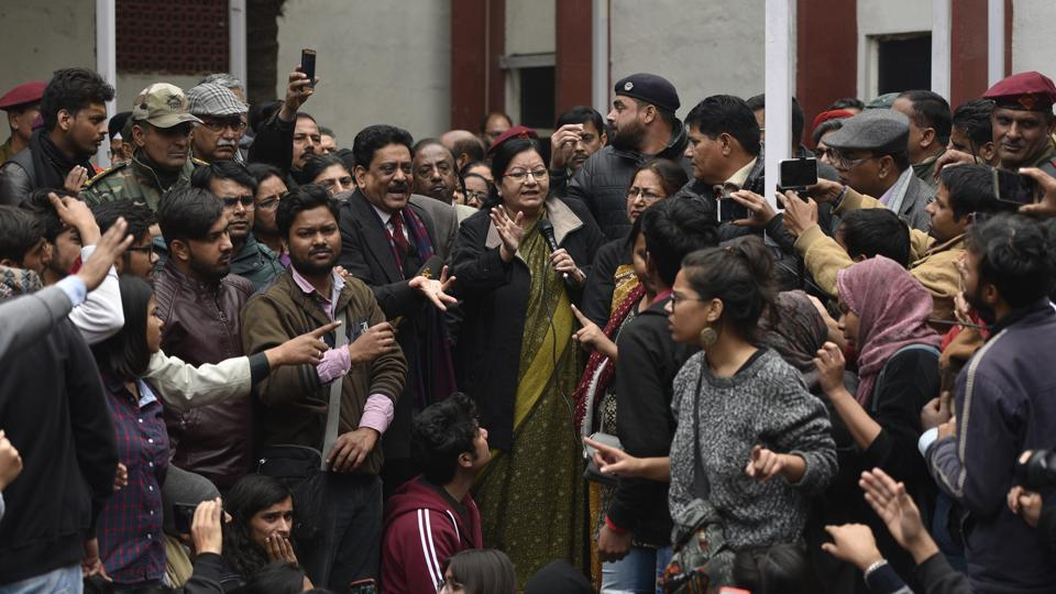 Jamia Millia Islamia vice chancellor Najma Akhtar speaks to students outside her office on Monday.