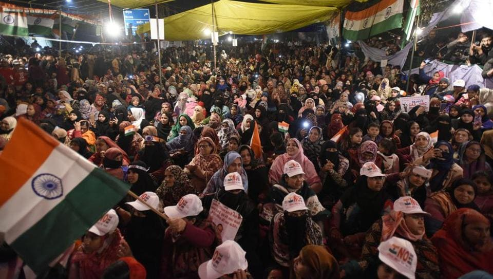 Women protesters who are on an indefinite sit-in against the Citizenship Amendment Act (CAA) and National Register of Citizens (NRC) seen at Shaheen Bagh, in New Delhi.