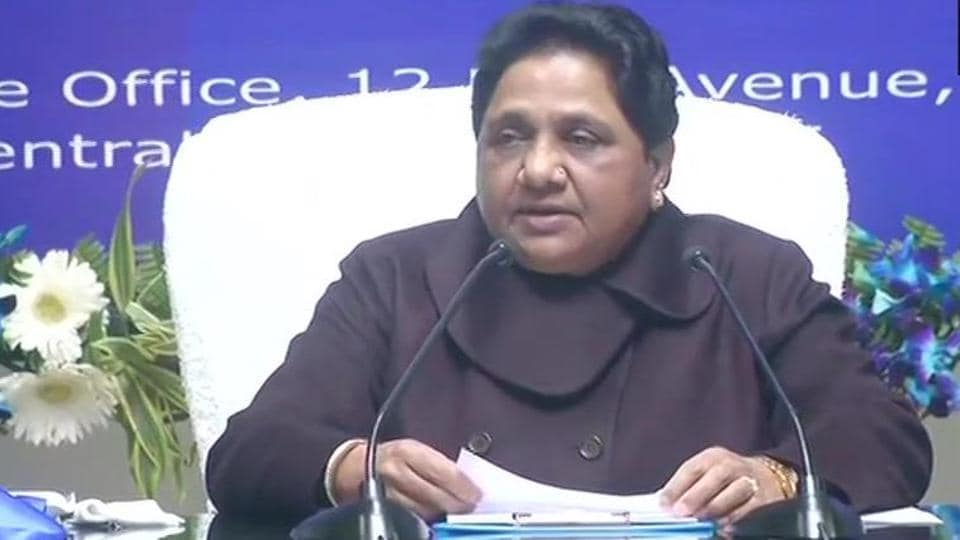 BSP chief Mayawati addressing a press conference on her 64th birthday on Wednesday, in Lucknow.