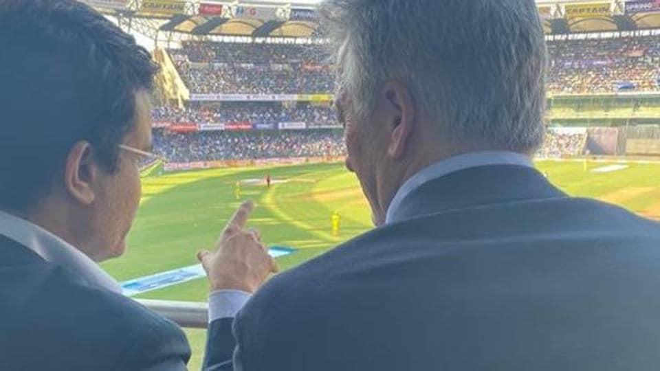 BCCI president Sourav Ganguly with former Australia captain Steve Waugh