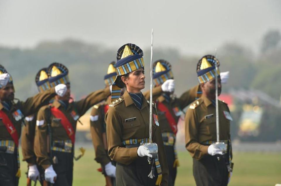 Captain Tanya Sher Gill, the first woman officer to lead the Army Day parade in New Delhi on Wednesday.