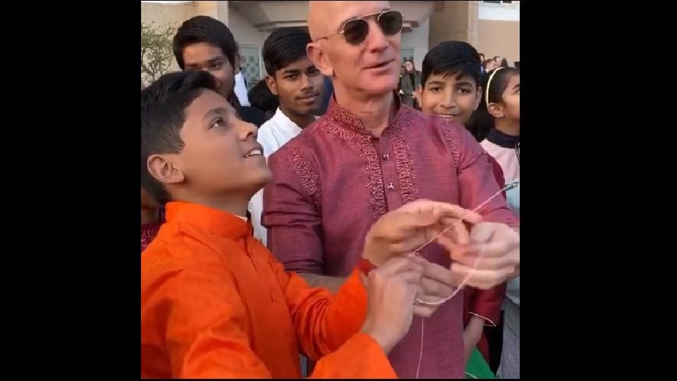 Jeff Bezos landed in India yesterday.