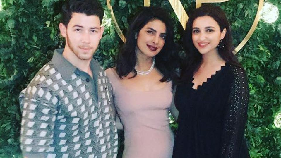 Parineeti Chopra with Nick Jonas and Priyanka Chopra