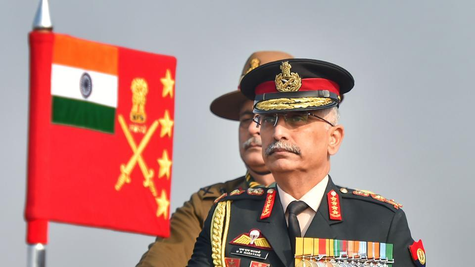 Army chief Gen M M Naravane during Army Day Parade at Cariappa Parade Ground in New Delhi.
