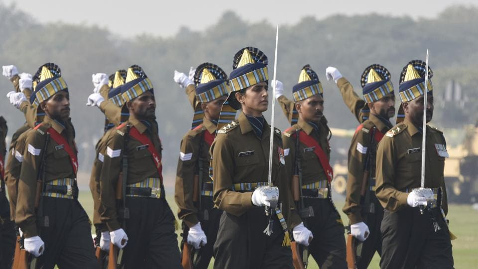 Captain Tania Shergill, the first female officer to lead as parade adjutant for the Republic Day parade, seen during the 72nd Army Day Parade at the Parade Ground in Delhi Cantt. Observed on January 15, Army Day marks the official handing over of the charge to then Lieutenant General KM Cariappa as the first commander-in-chief of the Indian Army. (Vipin Kumar / HT Photo)