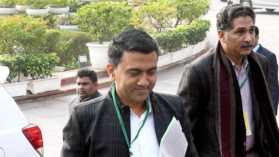 Goa Chief Minister Pramod Sawant arrives to attend the State Finance Ministers' meeting in New Delhi on Wednesday.