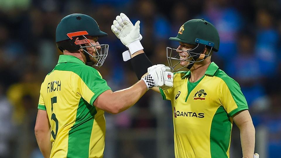 Aaron Finch and David Warner after completing their centuries