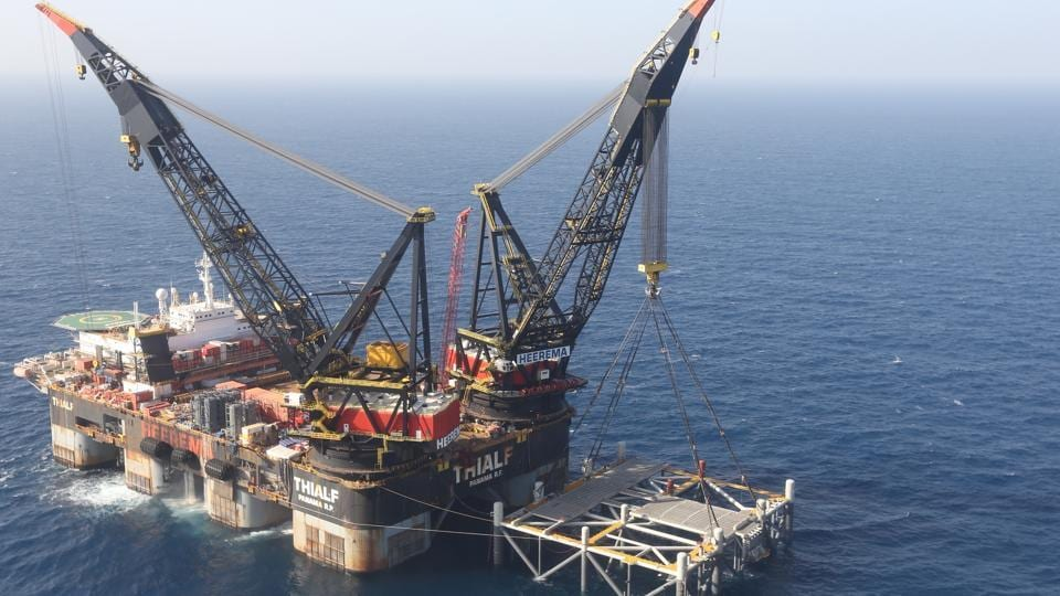 This file photo, shows an oil platform in the Leviathan natural gas field, in the Mediterranean Sea off the Israeli coast. Israel became a major energy exporter for the first time after signing a permit to export natural gas to neighboring Egypt.