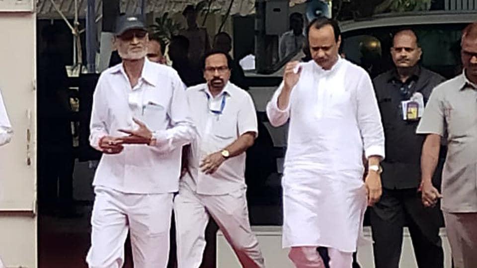 Maharashtra Deputy Chief Minister Ajit Pawar arrives for special session of state legislature, at Vidhan Bhavan on Wednesday.