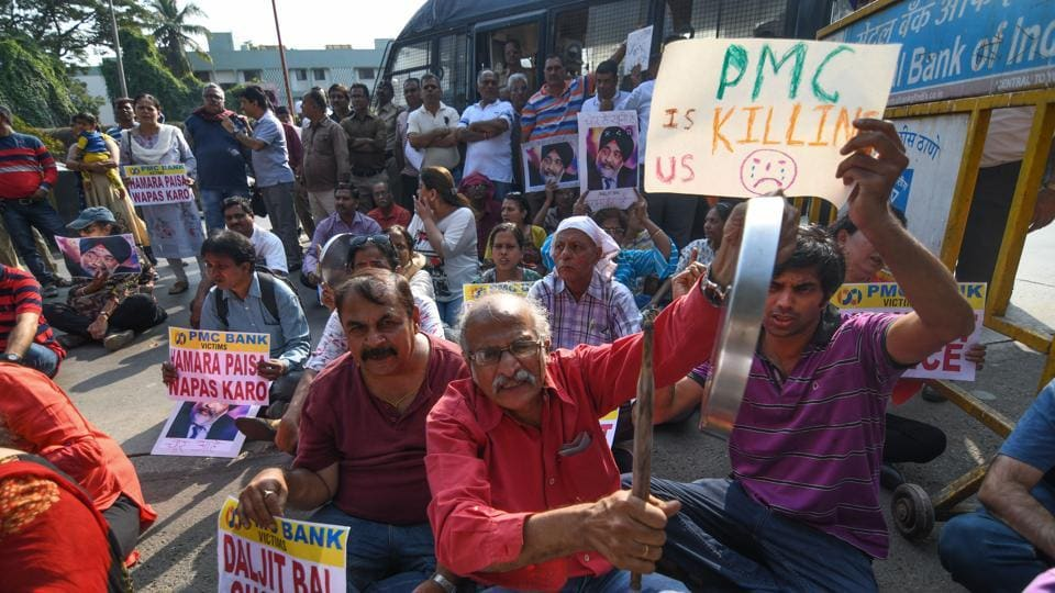 PMC Bank account holders on a protest in Mumbai, on January 5.