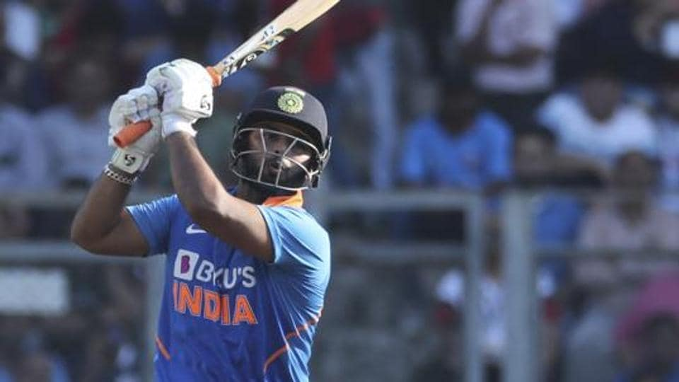 India's Rishabh Pant bats during the first one-day international cricket match between India and Australia in Mumbai.