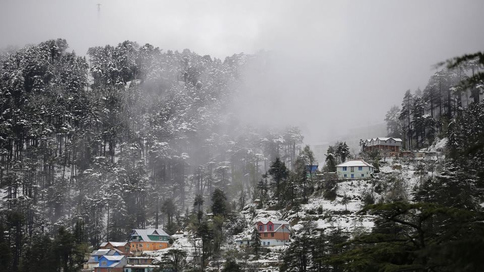 A view of snow covered Patnitop hill resort area, about 115 km from Jammu.