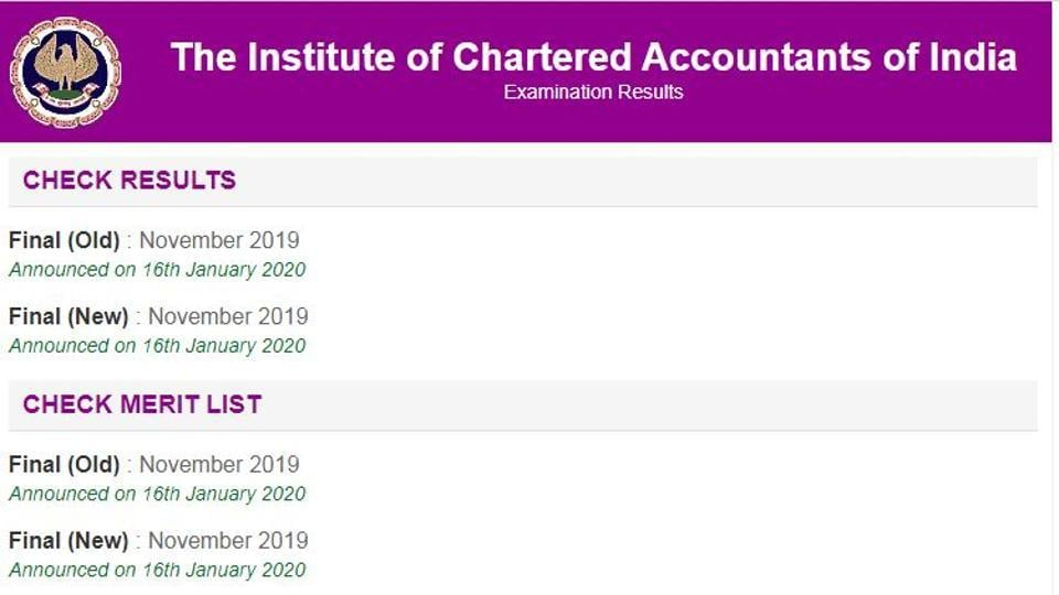 Institute of Chartered Accountants of India on Thursday declared the result of CAfinal exam (old and new course) .