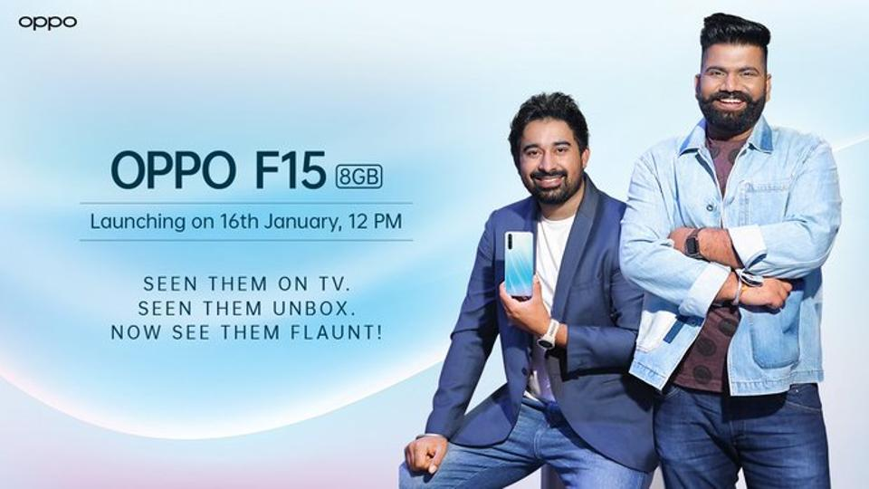 Oppo F15 launch event will begin at 12PM in India.