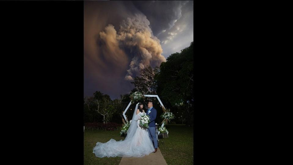 The wedding venue was situated just a short distance away from the Taal volcano which suddenly started spewing ash and smoke on Sunday.