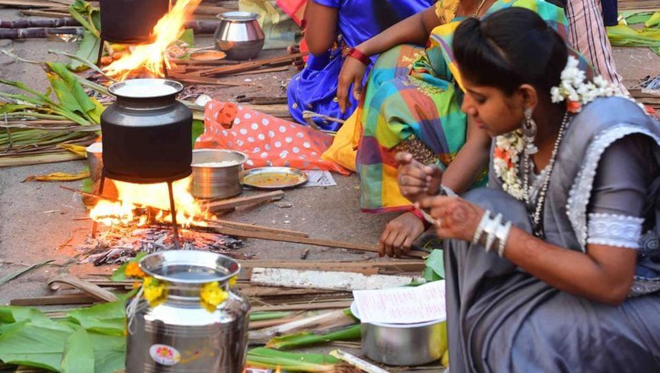 Mumbai, India - Jan. 14, 2020: Tamil community People Celebrate Pongal at Dharavi 90feet road in Mumbai, India, on Tuesday.