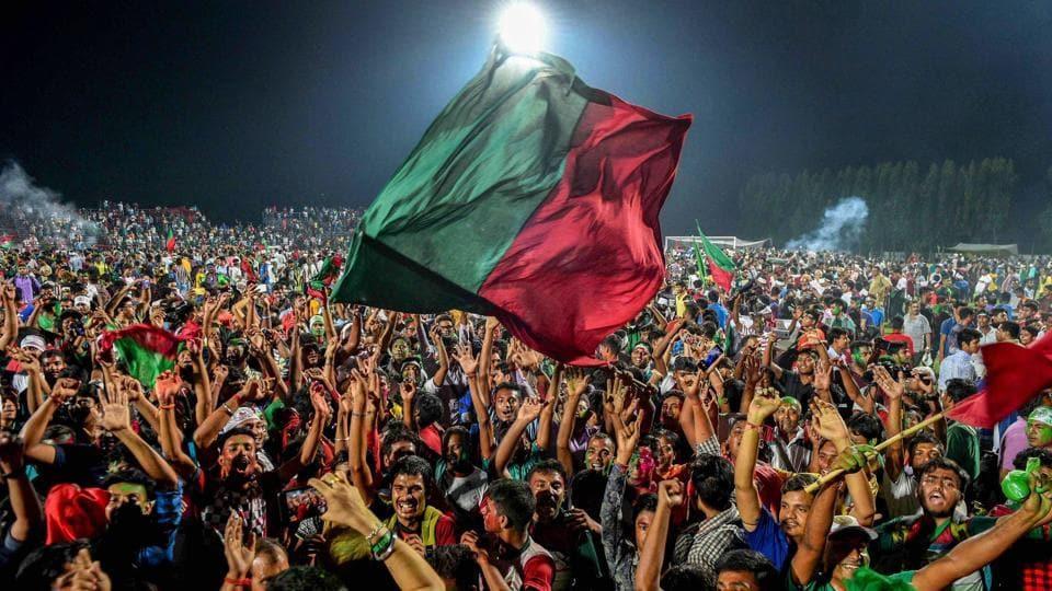 Mohun Bagan supporters celebrate.