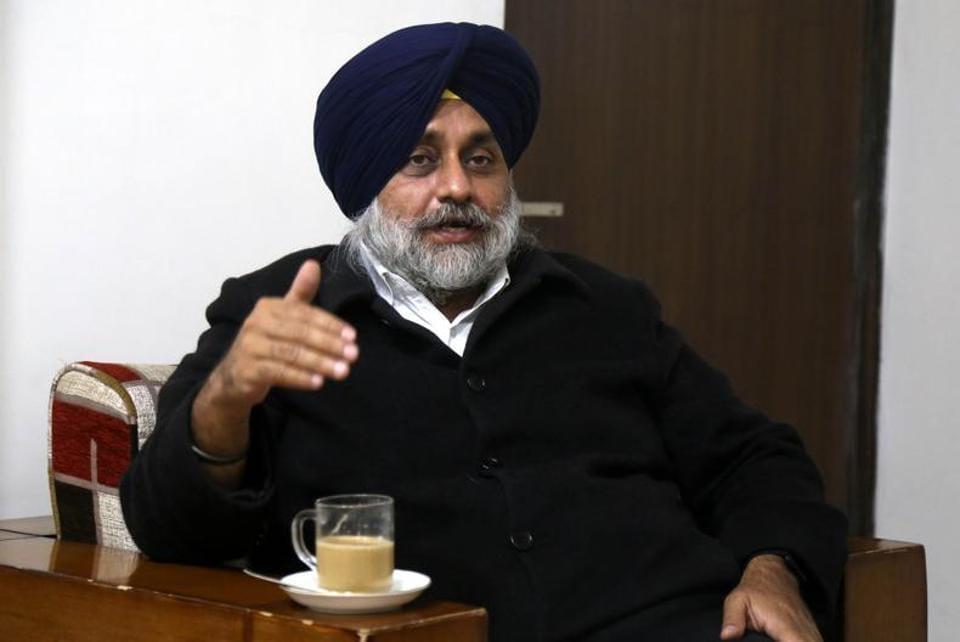 Shiromani Akali Dal president Sukhbir Singh Badal during an interview in Chandigarh. His strategy hinges on bolstering the party's Panthic base and taking rivals head on.